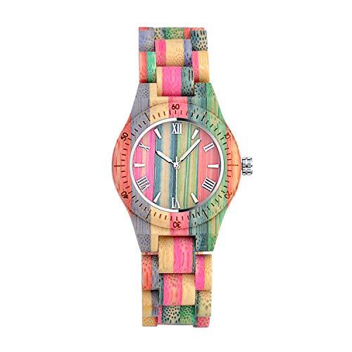 Unendlich U Regenbogen Holz Uhren Natürliche Hölzerne Uhren Für Damen Herren Casual Holzuhr Analog Kalender Quarzwerk Armbanduhr Buntenuhr mit Mischfarbe Bamboo Armband