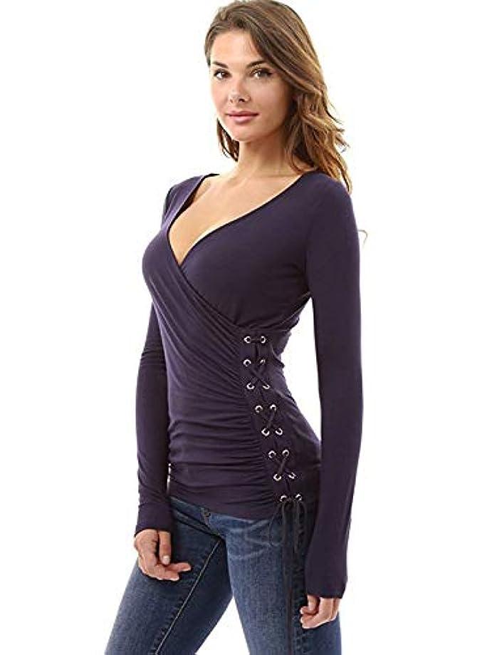 Women Autumn Long Sleeve Lace-up Slim T-shirt