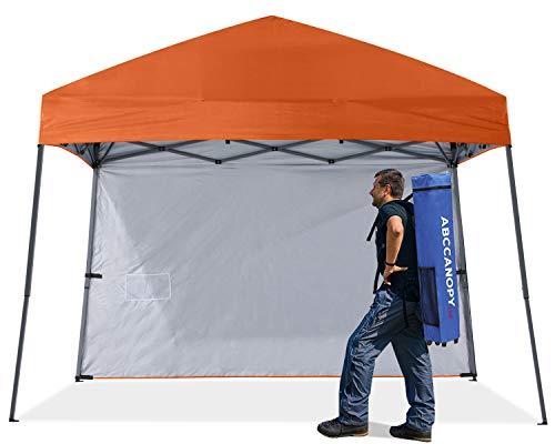 ABCCNAOPY - Toldo plegable para exteriores, con 1 pared solar, bolsa para mochila, estacas y cuerdas, color naranja