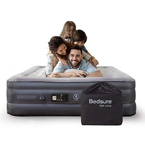 "Bedsure Queen Air Mattress with Built in Pump - 18"" Raised Inflatable Mattress Double Air Beds for Camping and Indoor Use"