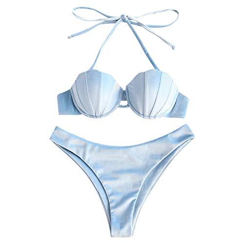ZAFUL Dames Velvet Shell Halter Seashell Bikini Set Zeemeermin Badpak
