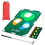 Golf Cornhole Game Set | Backyard Kids Corn Hole Outdoor Tri Toss Cornhole Game with Fun New Rules Double Golf Practice Game for All Ages and Abilities (from US, Multicolour)