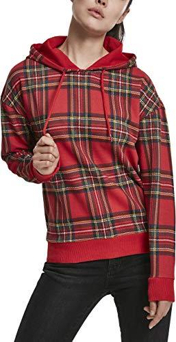 Urban Classics Damen Kapuzen-Sweatshirt Ladies All-Over-Print Tartan Hoody Kapuzenpullover, Rot (Red/Black 00869), Large (Herstellergröße: L)