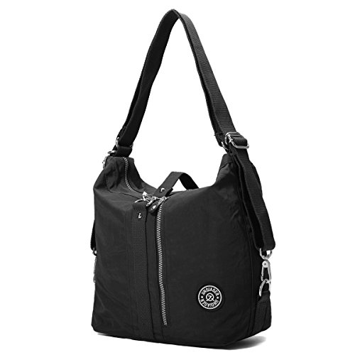 Shoulder Bags, Gracosy Fashion Nylon Backpack, Multi Function Sling Bag, Women's Handbags Light and Versatile Black 12X11X7inch