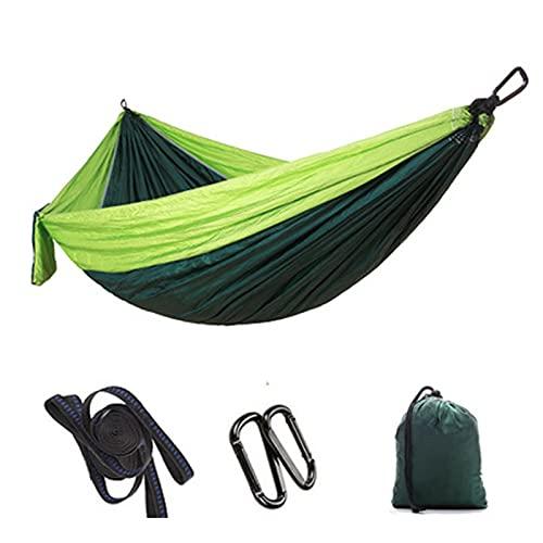 JUBANGLIAN Amaca da campeggio doppia e singola portatile con 2 cinghie da appendere, in nylon leggero, per paracadute, per viaggi in cortile, escursioni all'aperto (299,7 x 200,7 cm, verde)