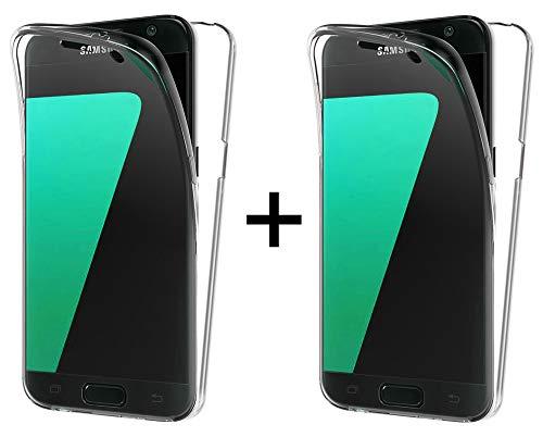 TBOC 2X Funda para Samsung Galaxy J7 [2017] [5.5'] - [Pack: Dos Unidades] Carcasa [Transparente] Completa [Silicona TPU] Doble Cara [360 Grados] Protección Integral Total Delantera Trasera Lateral