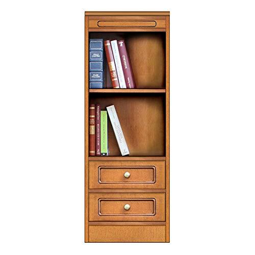 Bücherregal 2 Schubkasten, Möbel aus Holz klassisch modern, Bücherregal raumsparend klein, Made in Italy