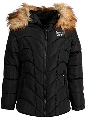 Reebok Girls' Mid-Weight Bubble Ski Jacket with Faux Fur Trim Hood, Black, Size 10/12