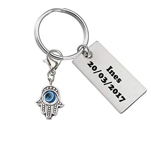 Porte-clés Main De Fatma Gravure Personnalisée sur Plaque Ac