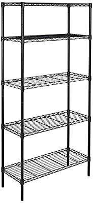 AmazonBasics 5-Shelf Adjustable, Heavy Duty Storage Shelving Unit, Steel Organizer Wire Rack