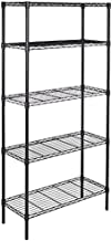 AmazonBasics 5-Shelf Adjustable, Storage Shelving Unit, Steel Organizer Wire Rack, Black