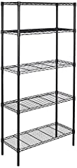 5-shelf shelving unit for your kitchen, office, garage, and more Each shelf holds up to 350 pounds (evenly distributed); total max load weight is 1750 pounds Wire shelves adjustable in 1-inch increments; no tools required Durable steel construction w...
