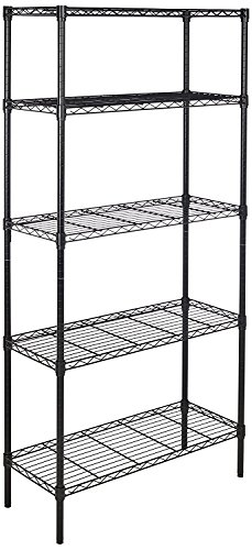 AmazonBasics 5-Shelf Adjustable, Storage Shelving Unit, Steel Organizer Wire Rack, Black