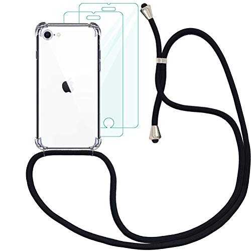 Yohii Funda con Cuerda para iPhone 7/8 /SE 2020 + [2 Pack] Cristal Templado Protector de Pantalla, Carcasa Transparente TPU Suave Silicon Colgante Ajustable Collar, Case para iPhone SE 2020 - Negro