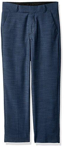 Calvin Klein Big Boys' Flat Front Dress Pant, Blue Weave, 16