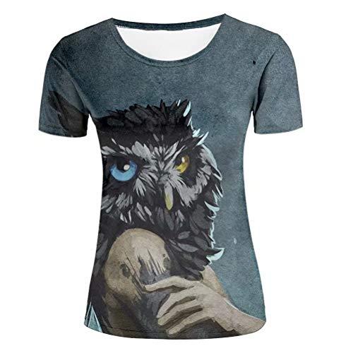 Tシャツ レディーズ 半袖 夜の狩人 ふくろう 3D プリント tシャツ おもしろ おしゃれ クルーネック 春夏服 M