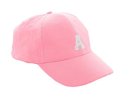 Unisex Jungen Mädchen Mütze Baseball Cap Rosa Hut Kinder Kappe A-Z Letter MFAZ Morefaz Ltd (A)