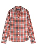 Lucky Brand Men's Long Sleeve Button Up Flannel Humboldt Workwear Shirt, Red Plaid, M