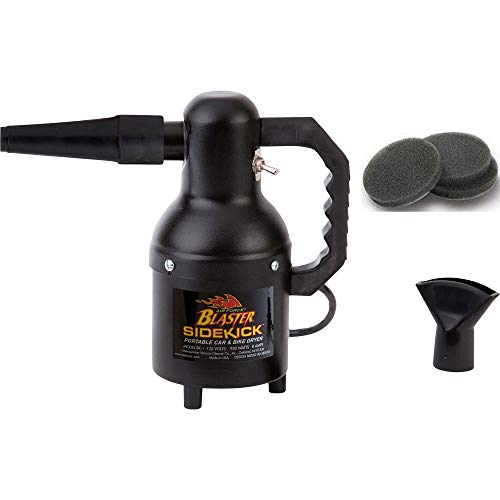 Includes 3 Extra Filters   Metro Vac Air Force Blaster Sidekick Motorcycle Detailing Dryer   Model SK-1   Cycle Blower   Includes 12 Foot Cord and Black Textured Matte Finish   Made in The USA