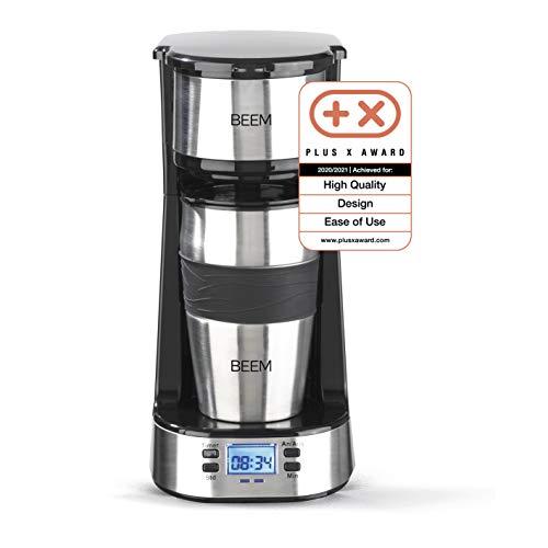 BEEM THERMO 2 GO Caffettiera con filtro per 1 tazza - Thermo | Include tazza da asporto da 0,4 l e filtro permanente | timer 24 ore, 750 Watt [Acciaio inossidabile]