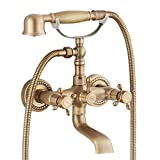 GGStudy Antique brass Clawfoot Bathtub Faucet Wall Mount Hand Held Shower Faucet Set Double cross Handle with 3-3/8 Inch Center with Adapter Adjustable Swing Arms