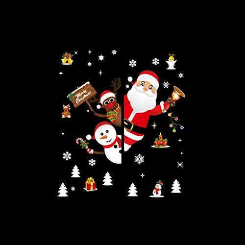 SHE.White Weihnachten Aufkleber Fenster Weihnachtsmann Elch Schneemann Abnehmbare Weihnachten Deko Wandtattoo Weihnachten Statisch Haftende PVC Aufkleber,Gold