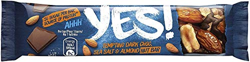 Yes Dark Chocolate, Sea Salt and Almond Nut Bar 35g, High in Fibre and Source of Protein, Pack of 24