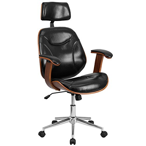 Flash Furniture High Back Black LeatherSoft Executive Ergonomic Wood Swivel Office Chair with Arms, BIFMA Certified