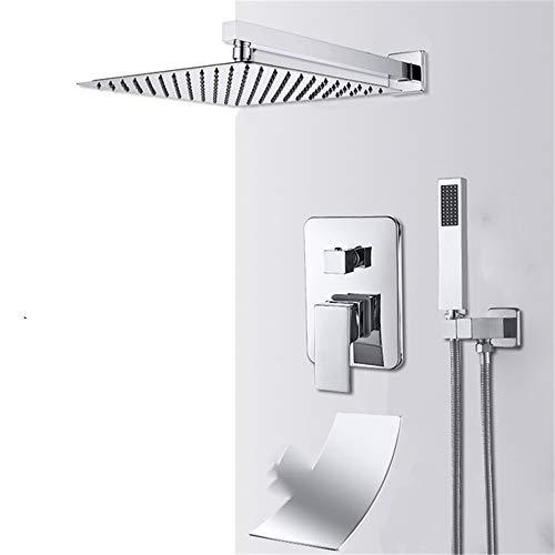 Wandhalterung Bad Regen Wasserfall Dusche Wasserhahn Set verdeckte Chrom Dusche System Bad Dusche Wasserhahn Wasserhahn 3-way 12in waterfall