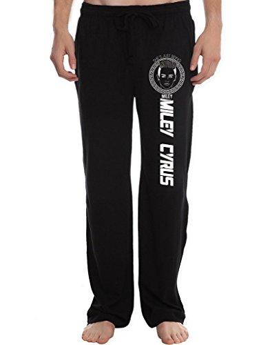 RBST Men's Miley Cyrus Art Running Workout Sweatpants Pants L Black