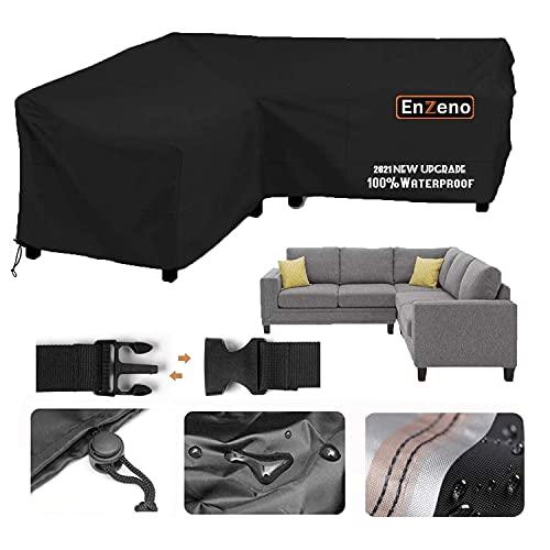 Enzeno Garden V-Shape Furniture Cover Waterproof, 420D Heavy Duty Oxford Fabric Outdoor Rattan Corner Sofa Cover with Waterproof Tape (215 * 215 * 87cm)