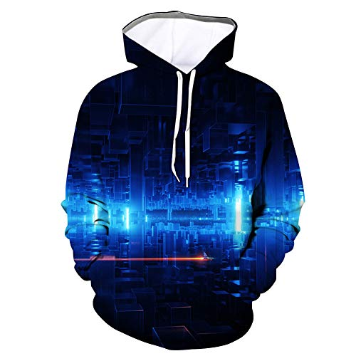 ZEIYUQI Pullover À Capuche Homme 3D Impression De Source Lumineuse Manches Longues Sweater Casual Sweatshirt Col Rond Pullover Unisexee,D02,XXXL