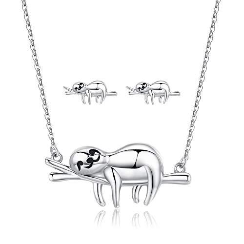 Faultier Halskette 925 Sterling Silber Damen Mädchen Kette Neuheit süßer Tier-Anhänger für Frauen,Beste Freunde, Geburtstags Geschenke für Mädchen