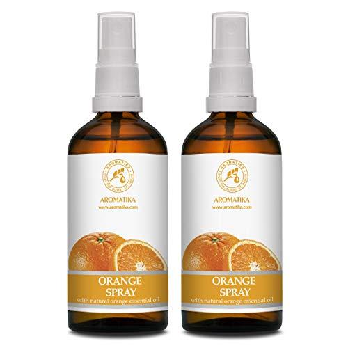 Spray perfumado con Aceite Esencial de Naranja - 2x100ml - Spray Perfumador de Habitación - Spray Almohada - Ambientador Armario - Aroma de Verano