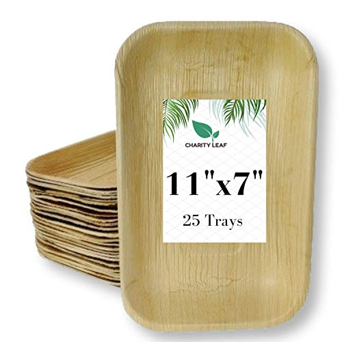 """Charity Leaf Disposable Palm Leaf Tray Like Bamboo Rectangle Serving Tray   All Natural and Biodegradable   Catering, Charcuterie Boards, BBQs, and Parties   25 Trays (11"""" x 7"""")"""