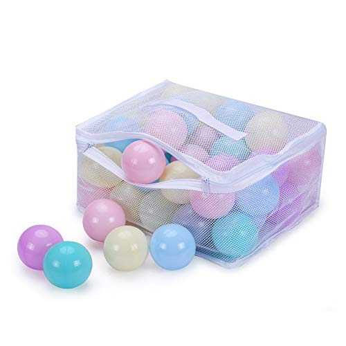 Play Ball Pit Balls for Kids - Plastic 2.16inches with 6 Macaroon Color Balls for Toddlers Ball Pit Play Tent and Pool with Durable mesh Bag for Party Decorations