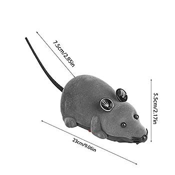 Garosa Jouet pour Animal de Compagnie de Rat de Souris à télécommande électronique, Jouet de Souris de Simulation pour Enfant de Chien de Chat(Gris)