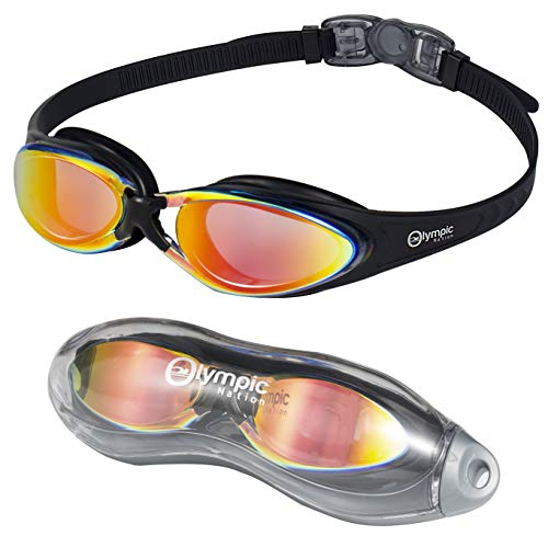 Olympic Nation Crystal Clear Comfortable Swimming Goggles with Anti-Fog Lenses, Swim Goggle for Adult Men Women Youth (Black with Orange Lens)