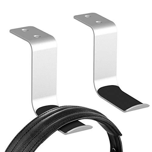 Geekria Kopfhörer-Aufhänger aus Aluminium, Kopfhörer-Ständer, Wandhalterung, Gaming-Headset-Kopfhörer-Haken, Halterung unter dem Schreibtisch für alle Kopfhörer-Größen (2 Stück, Z Silber)