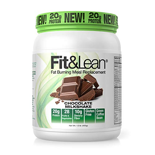 Fit & Lean Meal Shake Fat Burning Meal Replacement with Protein, Fiber, Probiotics and Organic Fruits & Vegetables and Green Tea for Weight Loss, 1lb, Chocolate, 10 Servings Per Container