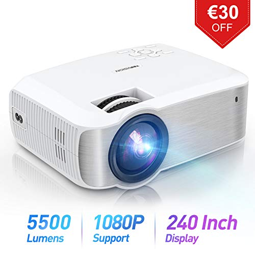 TOPVISION Mini Beamer, Native 720P Heimkino Beamer Unterstützt 1080P Full HD, 5500 Lumen Video Beamer mit 240'' Display, 60000 Stunden LED Beamer Kompatibel mit HDMI/USB/SD/AV/VGA