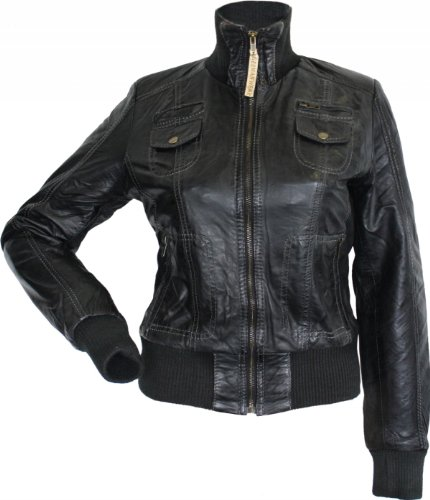 Damen Lederjacke Trend Fashion Echtleder Jacke aus Lamm Nappa Leder schwarz, Größe:46