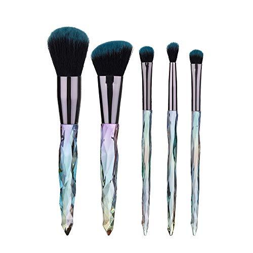 Maquillage gradient brosse 5 maquillage diamant coloré transparent Brosse de cristal poignée de beauté Outils de maquillage Matériel fiable (Handle Color : Blue)
