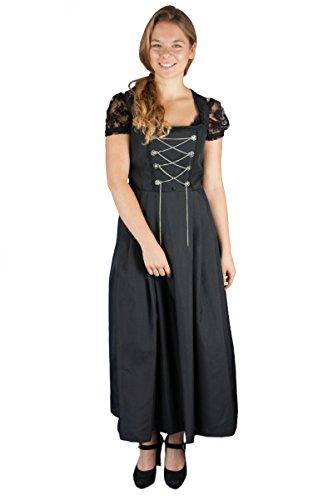Lekra Damen Bediener Bedienungs Dirndl Doria 90er Länge (50, schwarz)