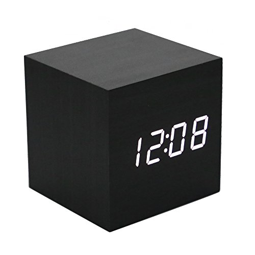 Lancoon Réveil en Bois - Horloge Digitale LED Mini avec Affichage De L'Heure De La Température, Luminosité à 3 Niveaux Et ContrôLe Vocal Idéal pour Les Voyages à Domicile - AC10Black_White