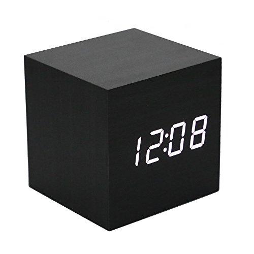 Lancoon Sveglia In Legno - Orologio Digitale Mini Cube A Led Con Display Ora/Data/Temperatura, 3 Livelli Di Luminosità E Controllo Vocale Ideale Per I Viaggi In Ufficio - AC10Black_White