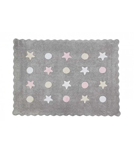 Happy Decor Kids -Alfombra Lavable Little Waves Tricolor 100% Algodón Natural -Gris, Rosa- 160x120 cm