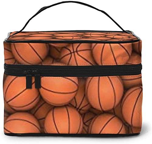 Cesta de baloncesto (2) diseño grande bolsa de maquillaje para mujer, portátil, organizador de viaje con cremallera de malla cepillo de bolsillo con asa chica