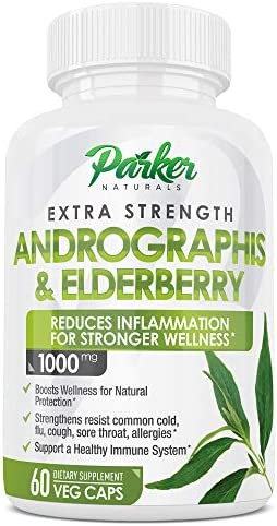 Extra Strength 1000mg Andrographis Elderberry Supplement 60 Capsules Helps Lessen Flu Colds product image