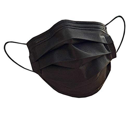 10 x Mundschutz Masken schwarz Einweg Mund Nase Bedeckung Gesicht 3 lagig Community Hygiene Behelfsmaske (10) (17,2 x 9,4 cm, schwarz, 10)
